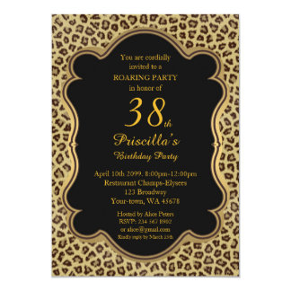 38th,Birthday Party 38th,Cheetah, Black & Gold 13 Cm X 18 Cm Invitation Card