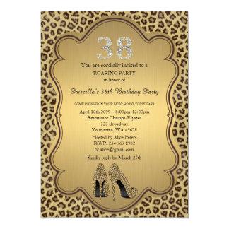 38th,Birthday Party 38th,Cheetah High Heels Shoes 13 Cm X 18 Cm Invitation Card