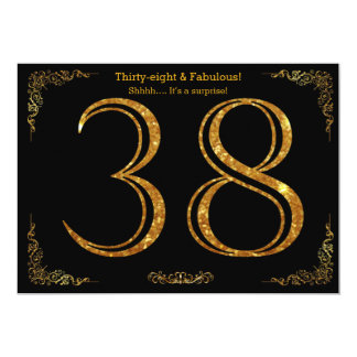38th Birthday party,Gatsby styl,black gold glitter Card