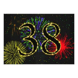 38th birthday party invitate custom invites
