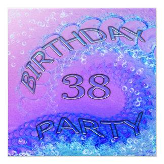 38th Birthday party invitation, Abstract and bubb 13 Cm X 13 Cm Square Invitation Card