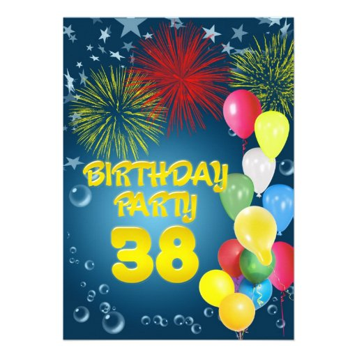 38th Birthday party Invitation with balloons