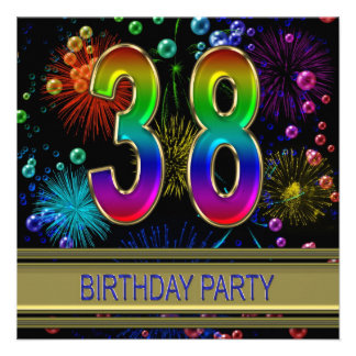 38th Birthday party Invitation with bubbles