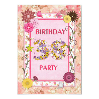 38th birthday party invitation with floral frame