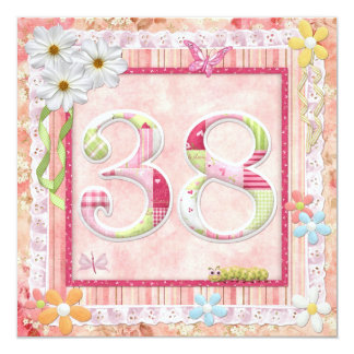 38th birthday party scrapbooking style 13 cm x 13 cm square invitation card