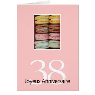 38th French Birthday Macaron-Joyeux Anniversaire Greeting Cards