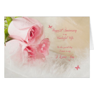 38th Wedding anniversary for wife with roses Greeting Card
