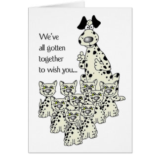 3919 Dalmation Dog, and Cats Funny Birthday Card