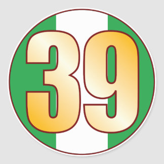 39 NIGERIA Gold Classic Round Sticker