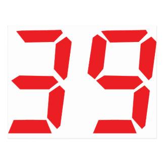 39 thirty-nine red alarm clock digital number postcard