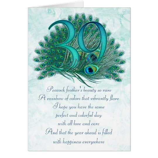 39th birthday decorative numbered cards