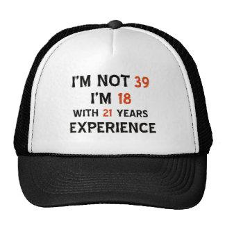 39th birthday designs mesh hats