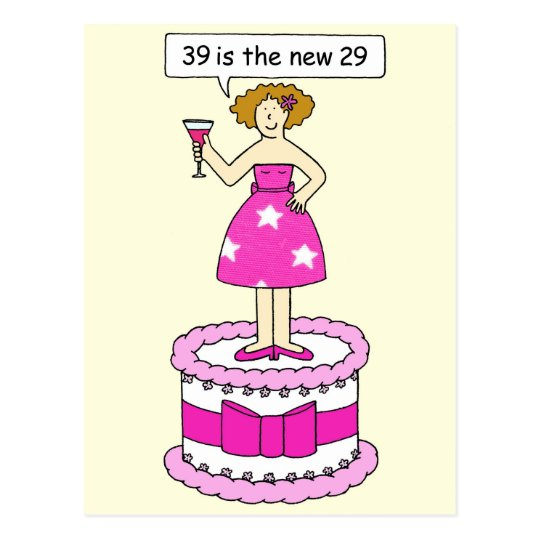 39th Birthday Humor For Her Postcard