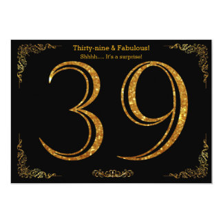 39th Birthday party,Gatsby styl,black gold glitter 13 Cm X 18 Cm Invitation Card