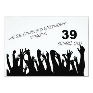 39th party invitation with cheering crowds