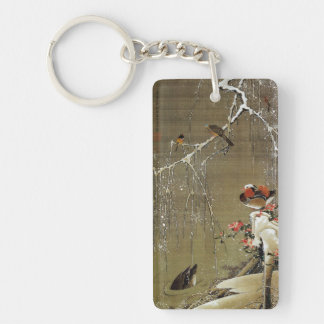 3. 雪中鴛鴦図, 若冲 Mandarin Duck in The Snow, Jakuchū Double-Sided Rectangular Acrylic Key Ring