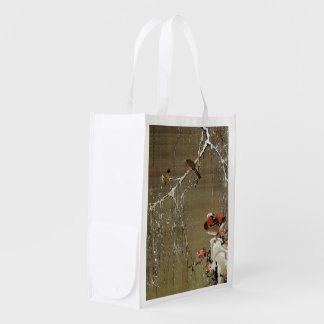 3. 雪中鴛鴦図, 若冲 Mandarin Duck in The Snow, Jakuchū Reusable Grocery Bag