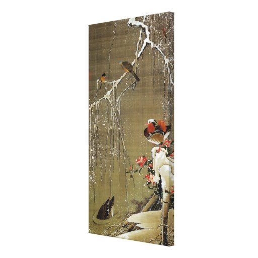 3. 雪中鴛鴦図, 若冲 Mandarin Duck in The Snow, Jakuchū Stretched Canvas Print