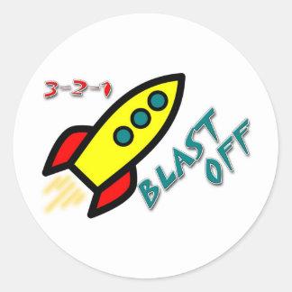 3-2-1 BLAST OFF CLASSIC ROUND STICKER
