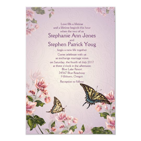 "3.5"" x 5"" Pink Floral Flowers Wedding Invitation"