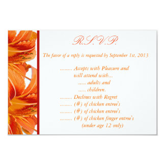 3.5 x 5 R.S.V.P Reply Card Orange Tiger Lilly w/St