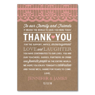 "3.5"" x 5"" Wedding Favour Lace Kraft Thank you Card"