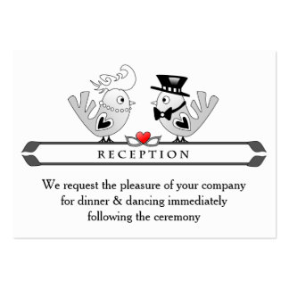3.5x2.5 Reception Cards Black & White Love Birds Pack Of Chubby Business Cards