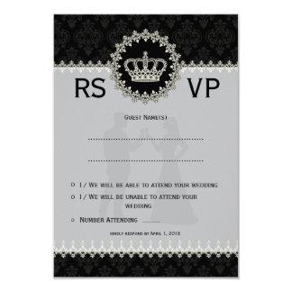 "*3.5x5"" Modern Laces Crown Wedding Passport  RSVP 3.5"" X 5"" Invitation Card"