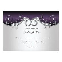 3.5x5 Ornate Purple Silver Black RSVP Custom Invitations