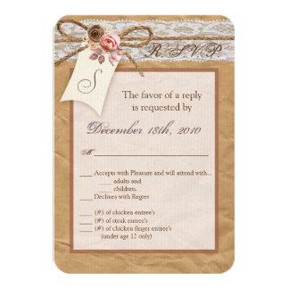 3.5x5 R.S.V.P. Card Kraft Paper Lace Twine Bow Ros 9 Cm X 13 Cm Invitation Card