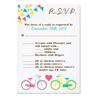 3.5x5 R.S.V.P. Card Lovers Bike Bicycle 9 Cm X 13 Cm Invitation Card