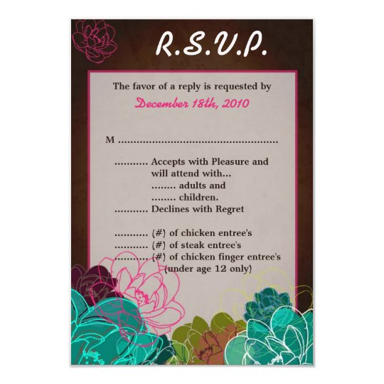 3.5x5 R.S.V.P. Card Neon Spring Floral