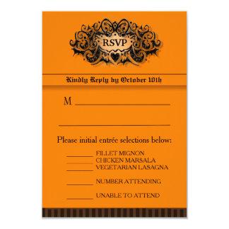 3.5x5 RSVP Card - Menu - Orange & Black 9 Cm X 13 Cm Invitation Card