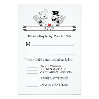 3.5x5 RSVP Menu Card - Black White Wed Love Birds 9 Cm X 13 Cm Invitation Card