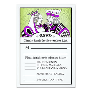 3.5x5 RSVP Menu Card - King & Queen Playing Card 9 Cm X 13 Cm Invitation Card