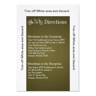 3.5x6 Directions Card Brown Double Bike 13 Cm X 18 Cm Invitation Card