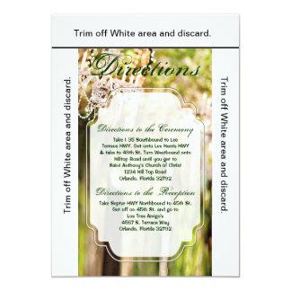 3.5x6 Directions Card Crystal Chandelier Oak Tree 13 Cm X 18 Cm Invitation Card