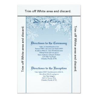 3.5x6 Directions Card Crystal Snowflakes Winter 13 Cm X 18 Cm Invitation Card