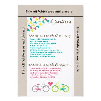 3.5x6 Directions Card Lovers Bike Bicyc 13 Cm X 18 Cm Invitation Card