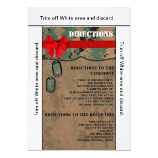 3.5x6 Directions Card Marine Corps DIGITAL PRINT 13 Cm X 18 Cm Invitation Card