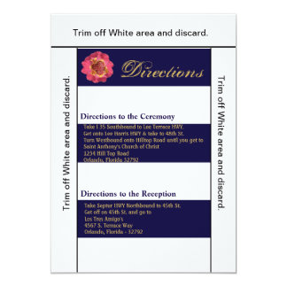 3.5x6 Directions Card Modern Stripe Navy White Co 13 Cm X 18 Cm Invitation Card