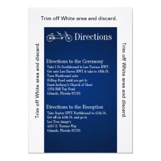 3.5x6 Directions Card Navy Double Bike 13 Cm X 18 Cm Invitation Card
