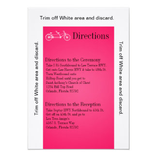 3.5x6 Directions Card Pink Double Bike 13 Cm X 18 Cm Invitation Card