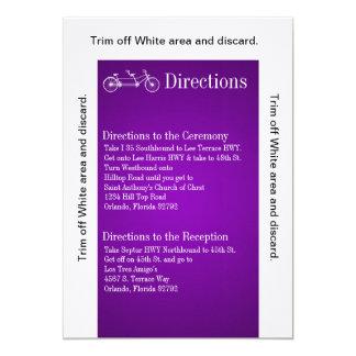 3.5x6 Directions Card PurpleDouble Bike 13 Cm X 18 Cm Invitation Card