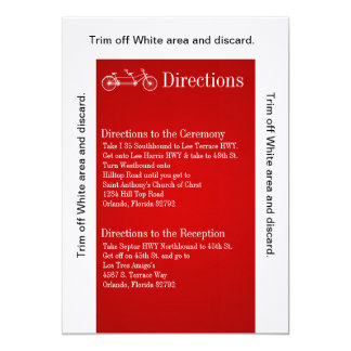3.5x6 Directions Card Red Double Bike 13 Cm X 18 Cm Invitation Card