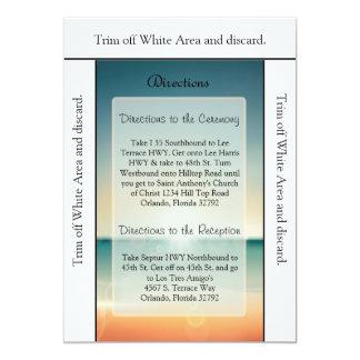 3.5x6 Directions Card Sunset Beach 13 Cm X 18 Cm Invitation Card