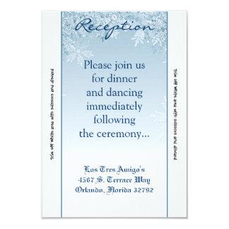 3.5x7 Reception Card Crystal Snowflakes Winter 9 Cm X 13 Cm Invitation Card