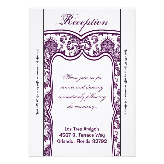 3.5x7 Reception Card Plum Purple Damask