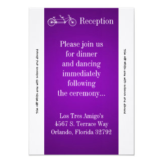 3.5x7 Reception Card Purple Double Bike 13 Cm X 18 Cm Invitation Card