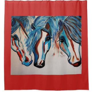 3 AMIGOS   HORSES SHOWER CURTAIN